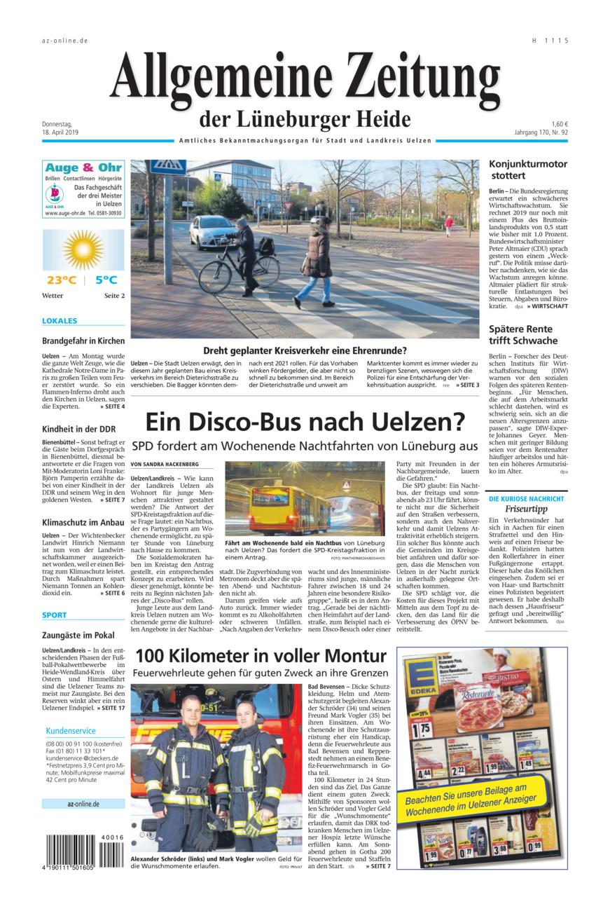 Allgemeine Zeitung vom Donnerstag, 18.04.2019