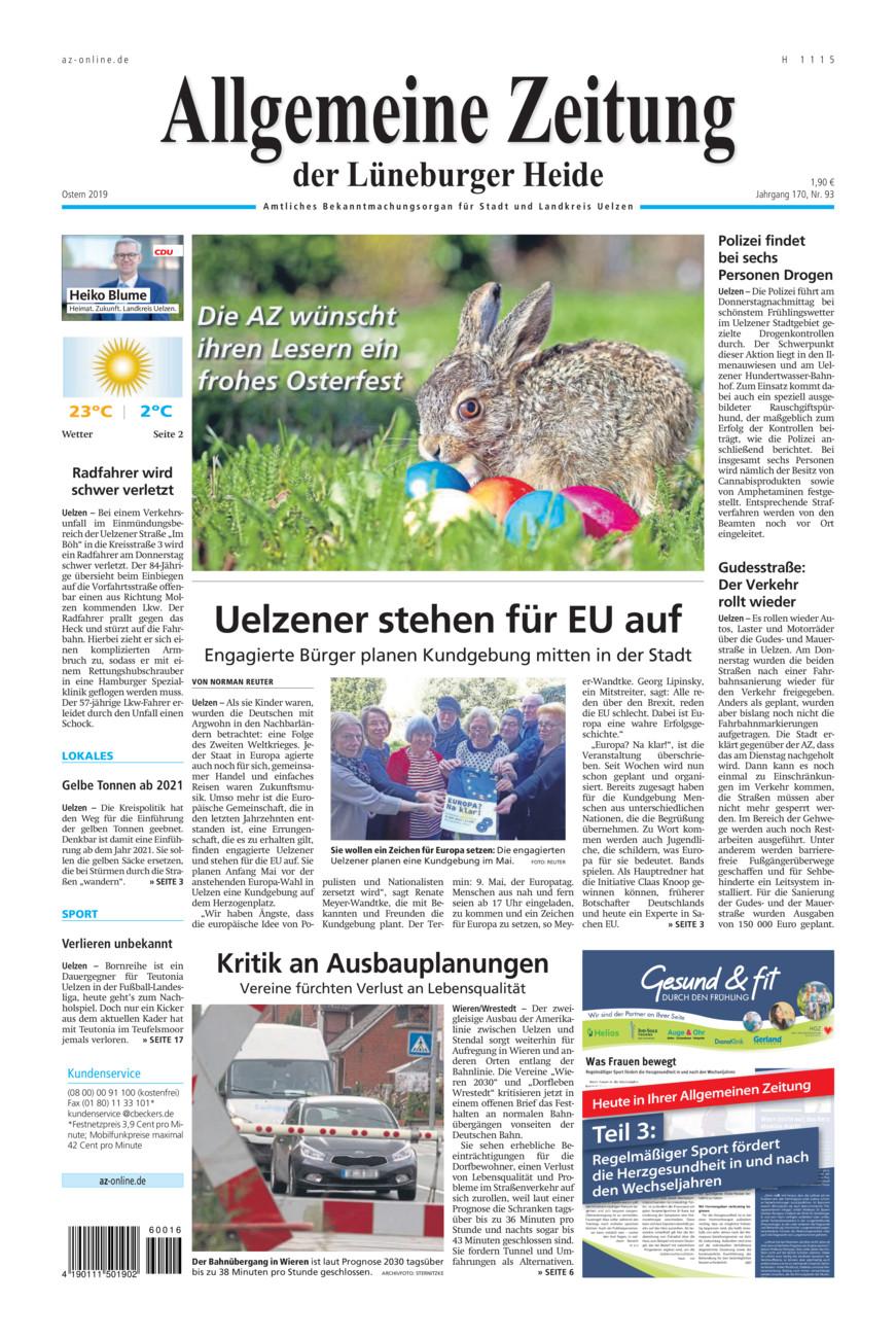 Allgemeine Zeitung vom Samstag, 20.04.2019