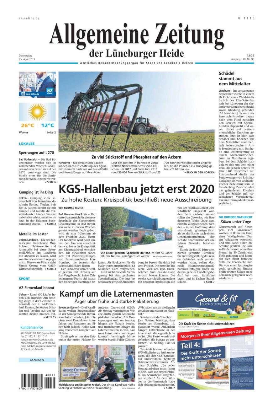 Allgemeine Zeitung vom Donnerstag, 25.04.2019