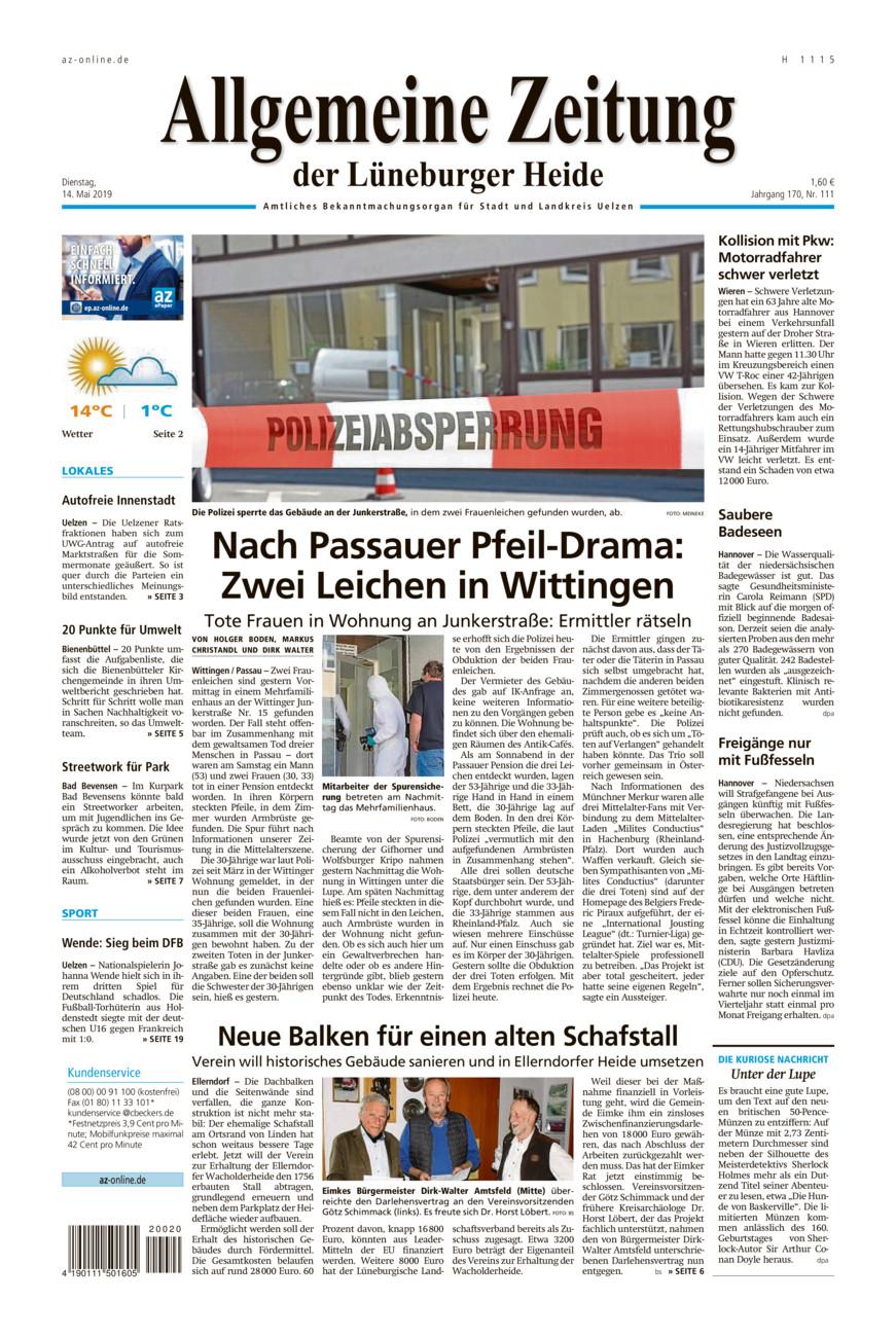 Allgemeine Zeitung vom Dienstag, 14.05.2019