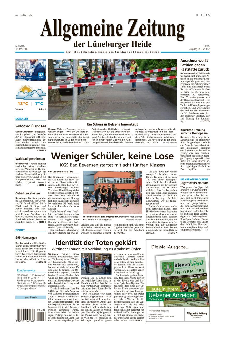 Allgemeine Zeitung vom Mittwoch, 15.05.2019