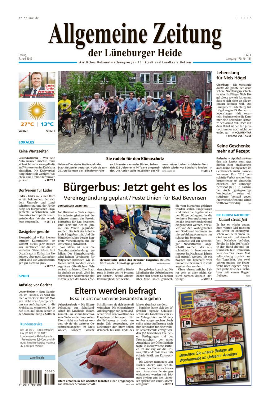 Allgemeine Zeitung vom Freitag, 07.06.2019