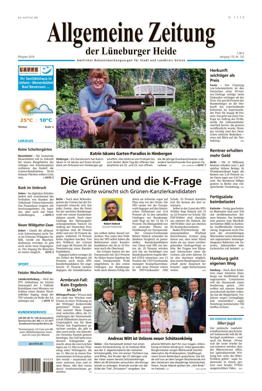 Allgemeine Zeitung vom Samstag, 08.06.2019
