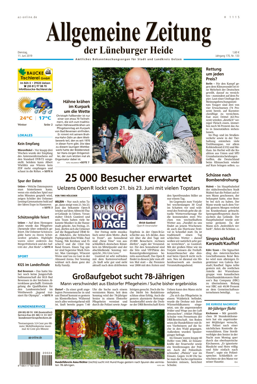 Allgemeine Zeitung vom Dienstag, 11.06.2019