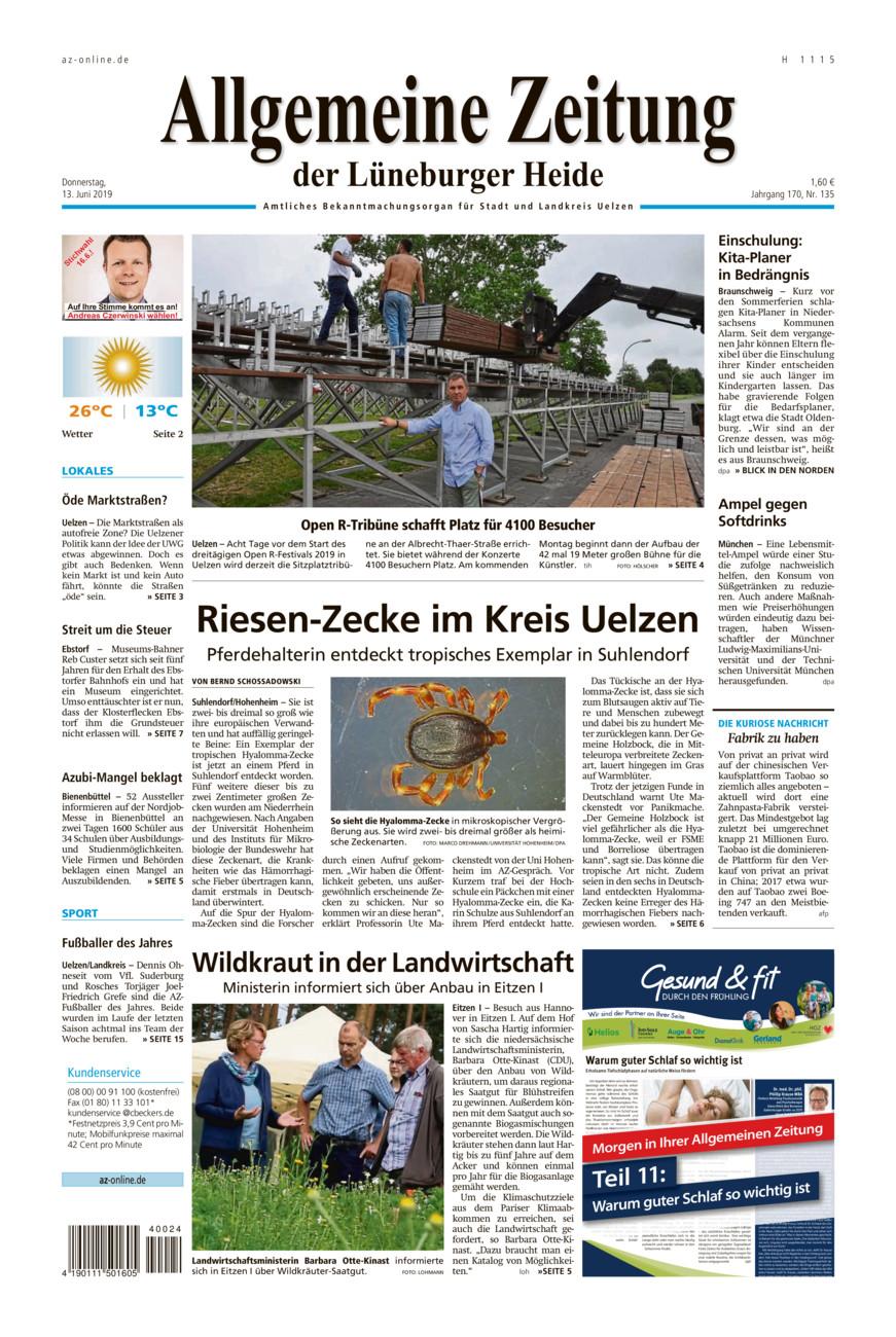 Allgemeine Zeitung vom Donnerstag, 13.06.2019