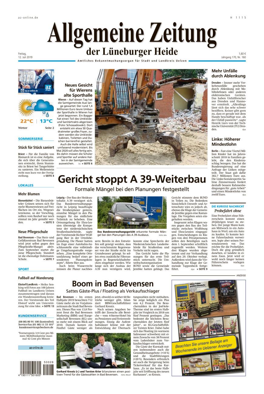 Allgemeine Zeitung vom Freitag, 12.07.2019