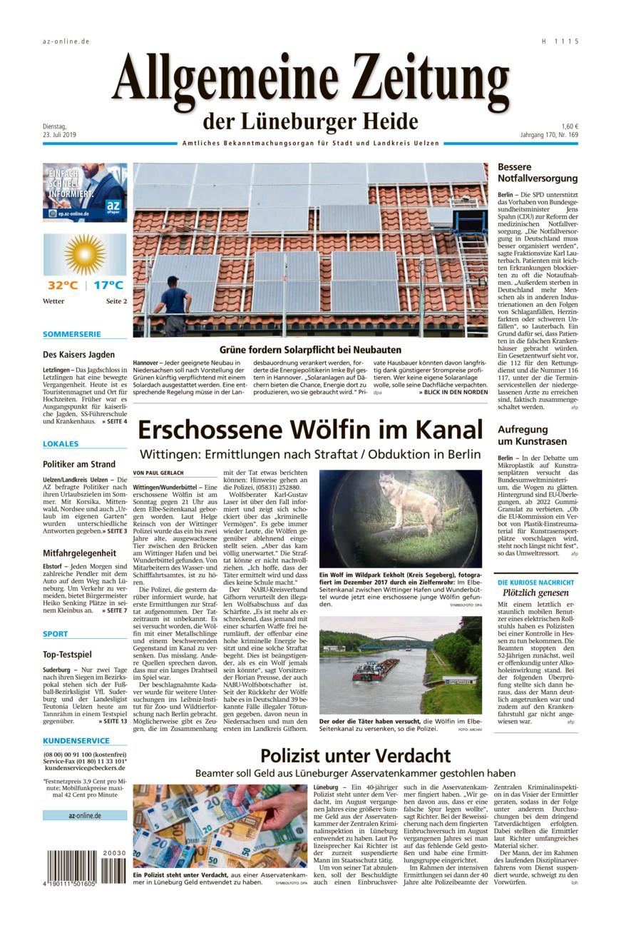 Allgemeine Zeitung vom Dienstag, 23.07.2019