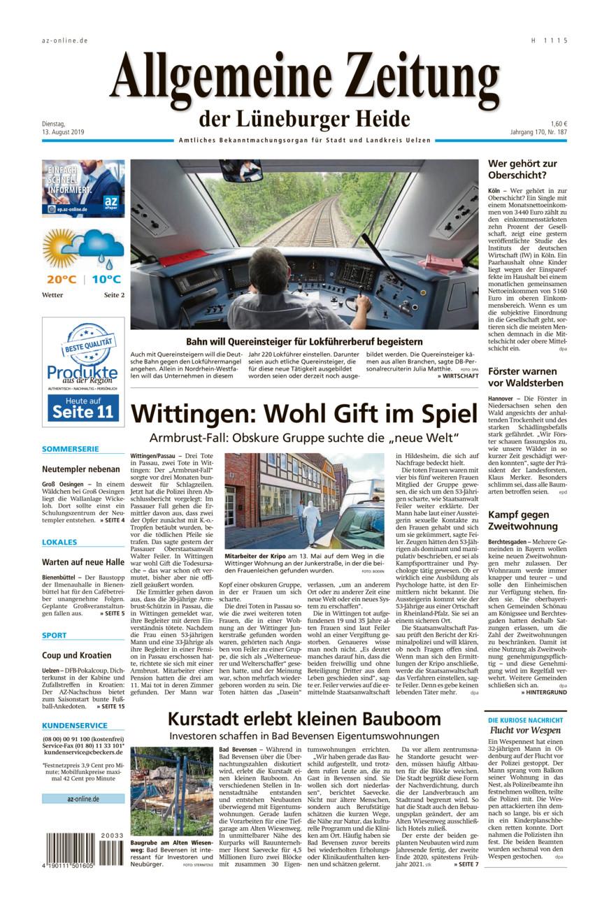 Allgemeine Zeitung vom Dienstag, 13.08.2019