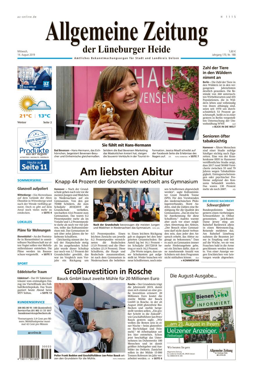 Allgemeine Zeitung vom Mittwoch, 14.08.2019