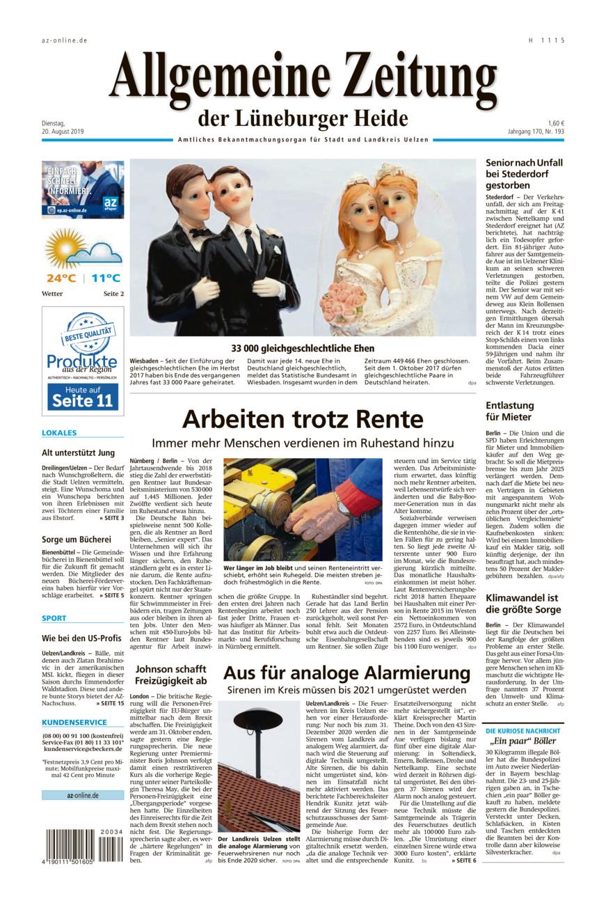 Allgemeine Zeitung vom Dienstag, 20.08.2019