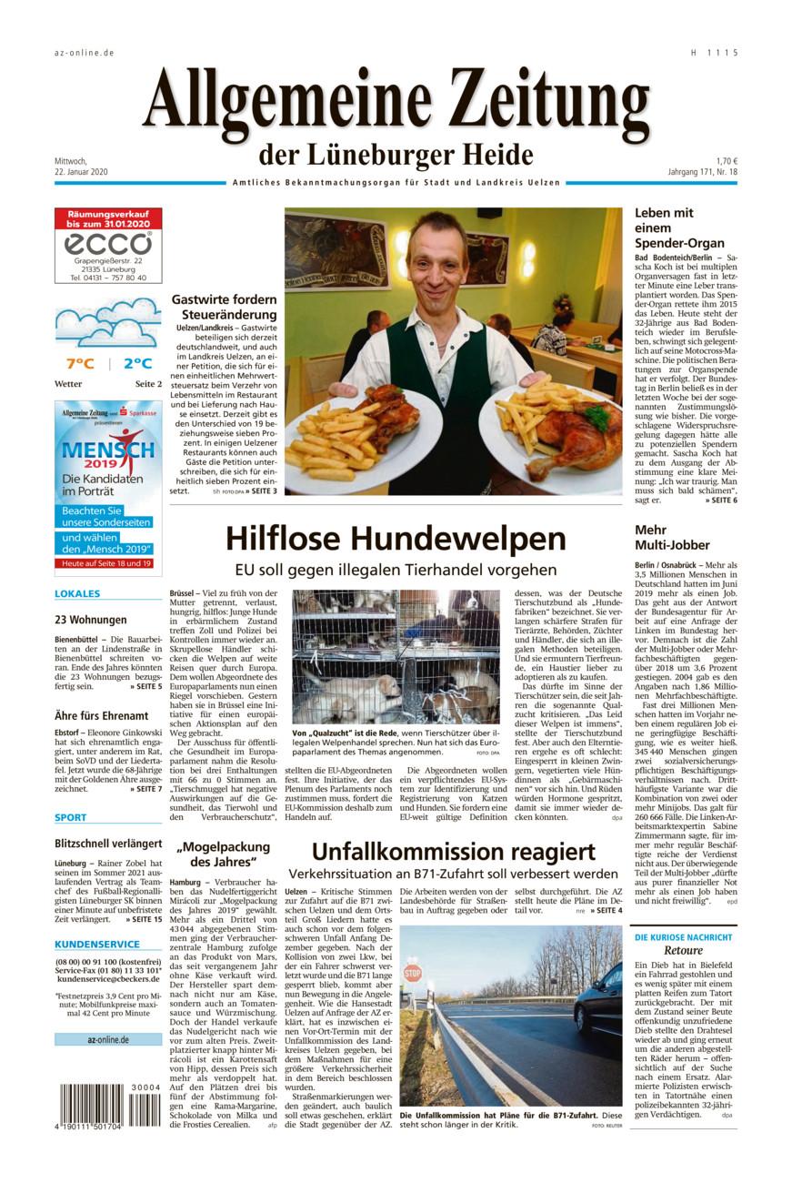 Allgemeine Zeitung vom Mittwoch, 22.01.2020