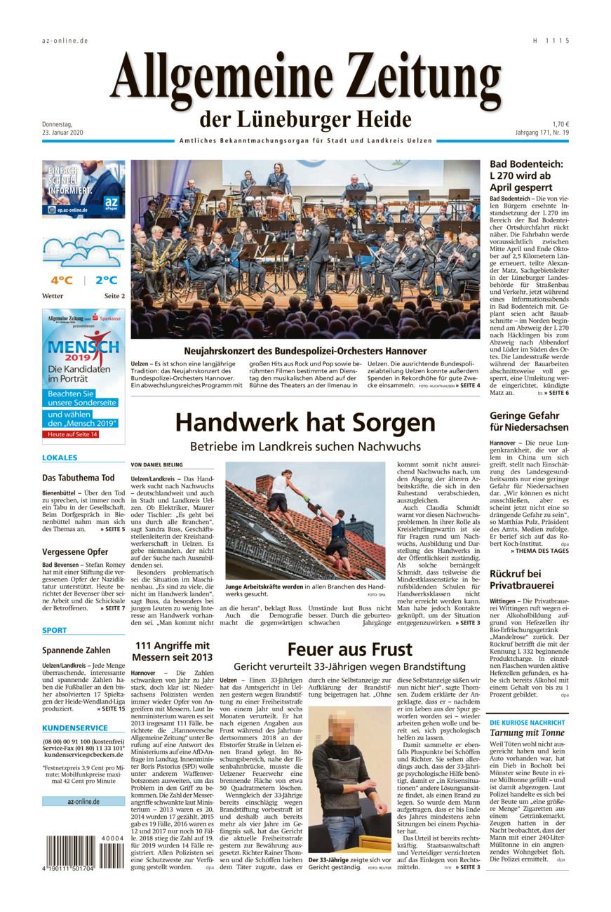 Allgemeine Zeitung vom Donnerstag, 23.01.2020