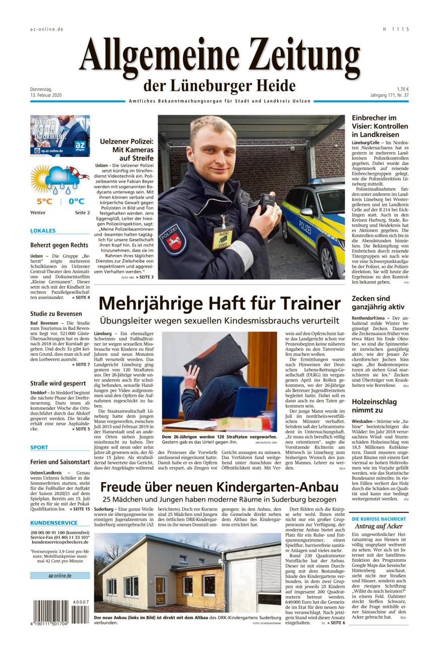 Allgemeine Zeitung vom Donnerstag, 13.02.2020