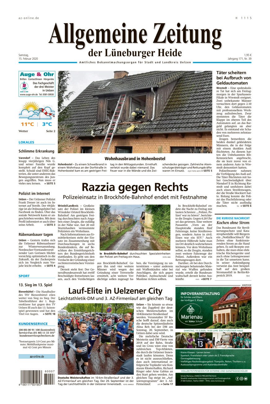 Allgemeine Zeitung vom Samstag, 15.02.2020