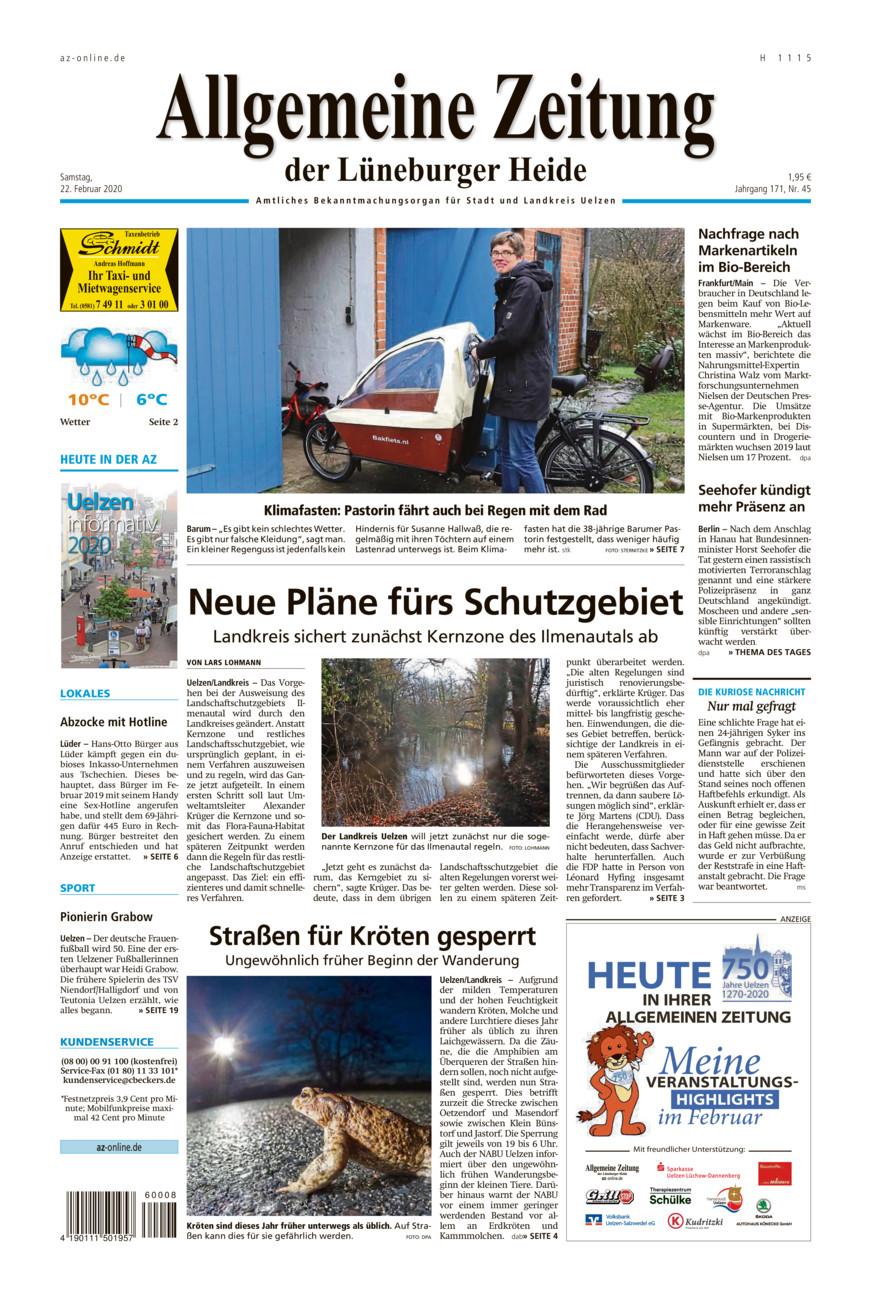Allgemeine Zeitung vom Samstag, 22.02.2020