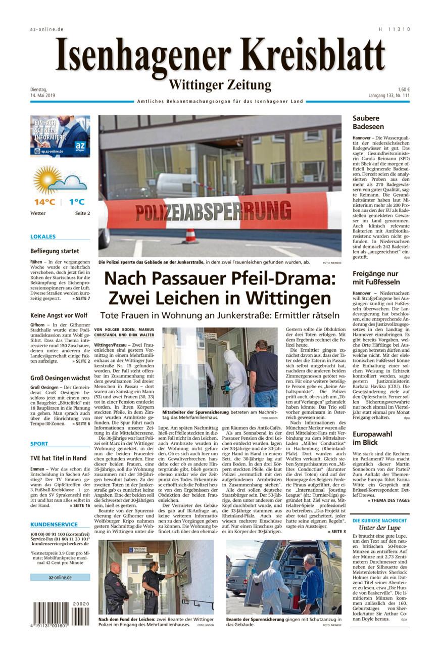 Isenhagener Kreisblatt vom Dienstag, 14.05.2019