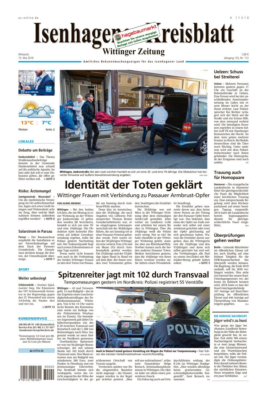 Isenhagener Kreisblatt vom Mittwoch, 15.05.2019