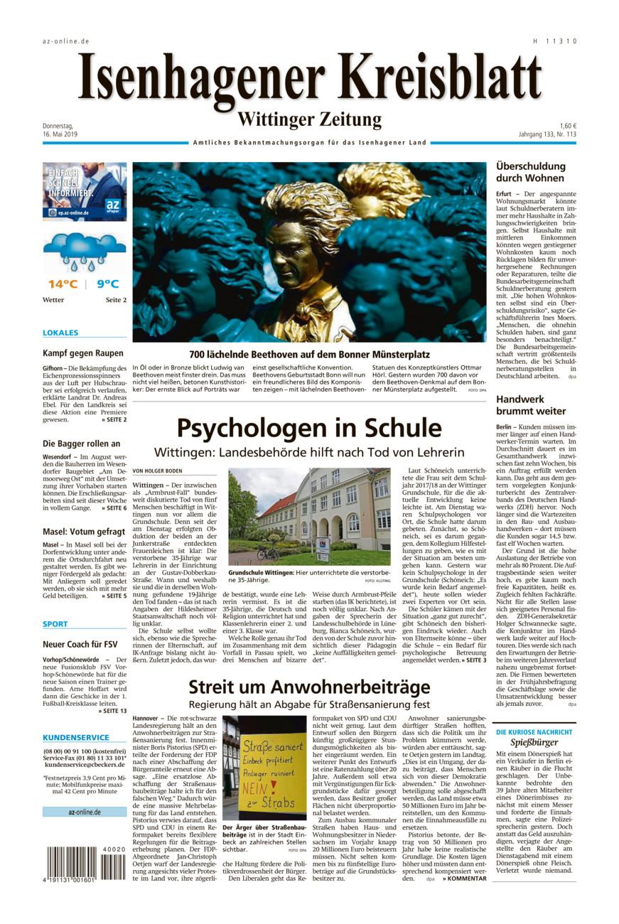 Isenhagener Kreisblatt vom Donnerstag, 16.05.2019