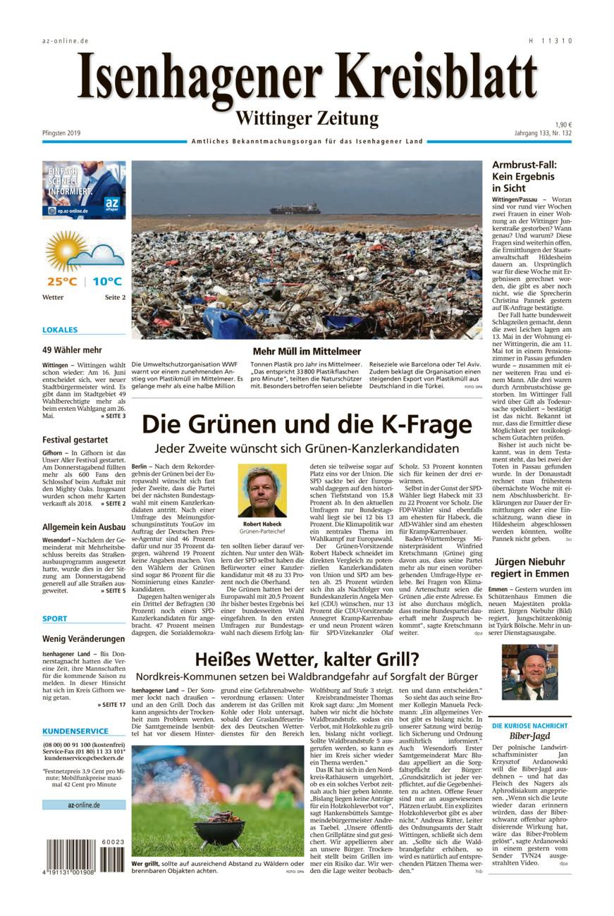 Isenhagener Kreisblatt vom Samstag, 08.06.2019