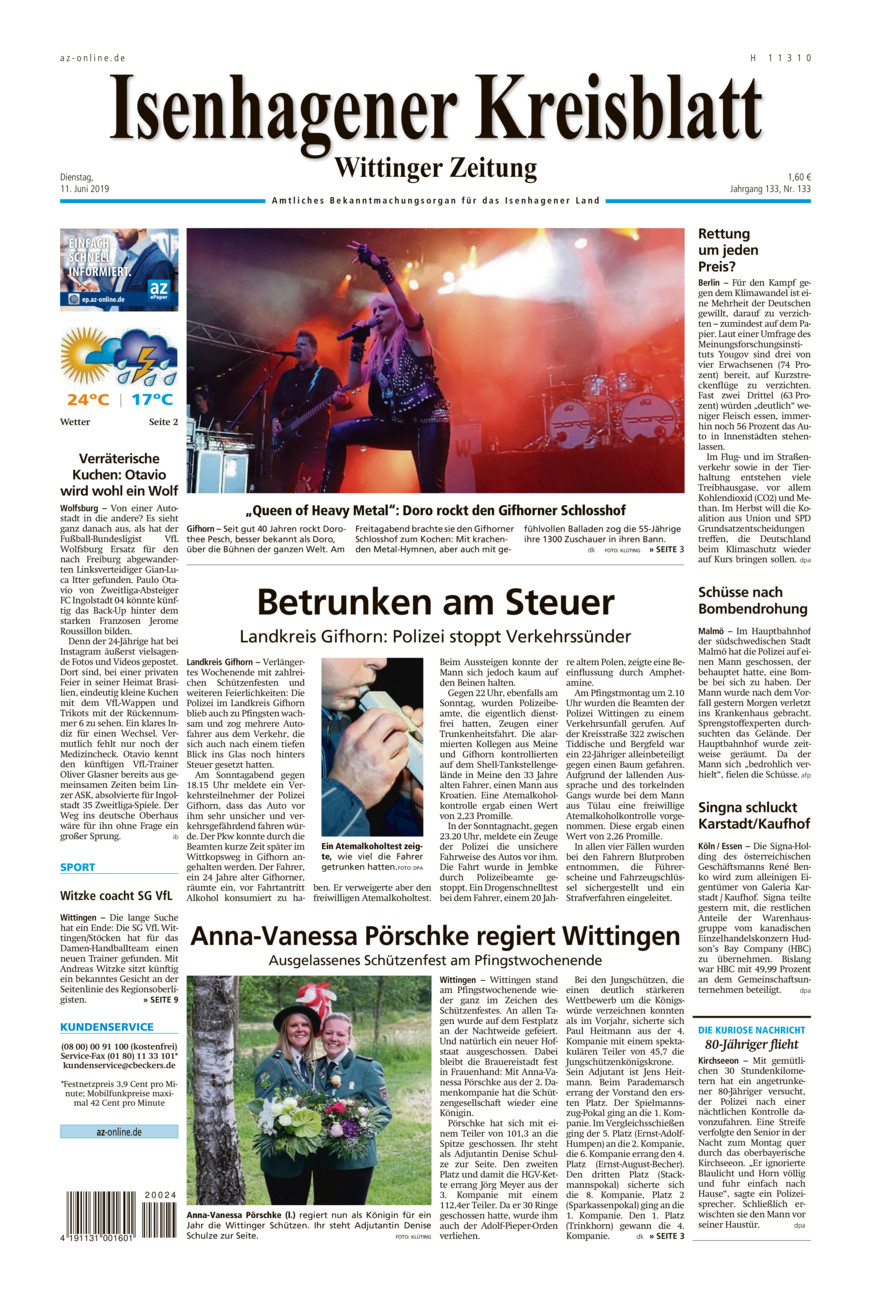 Isenhagener Kreisblatt vom Dienstag, 11.06.2019