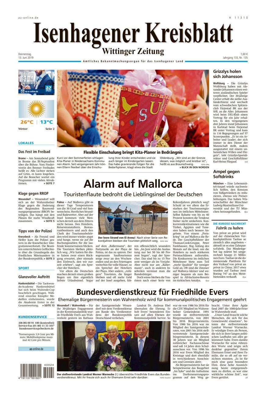 Isenhagener Kreisblatt vom Donnerstag, 13.06.2019