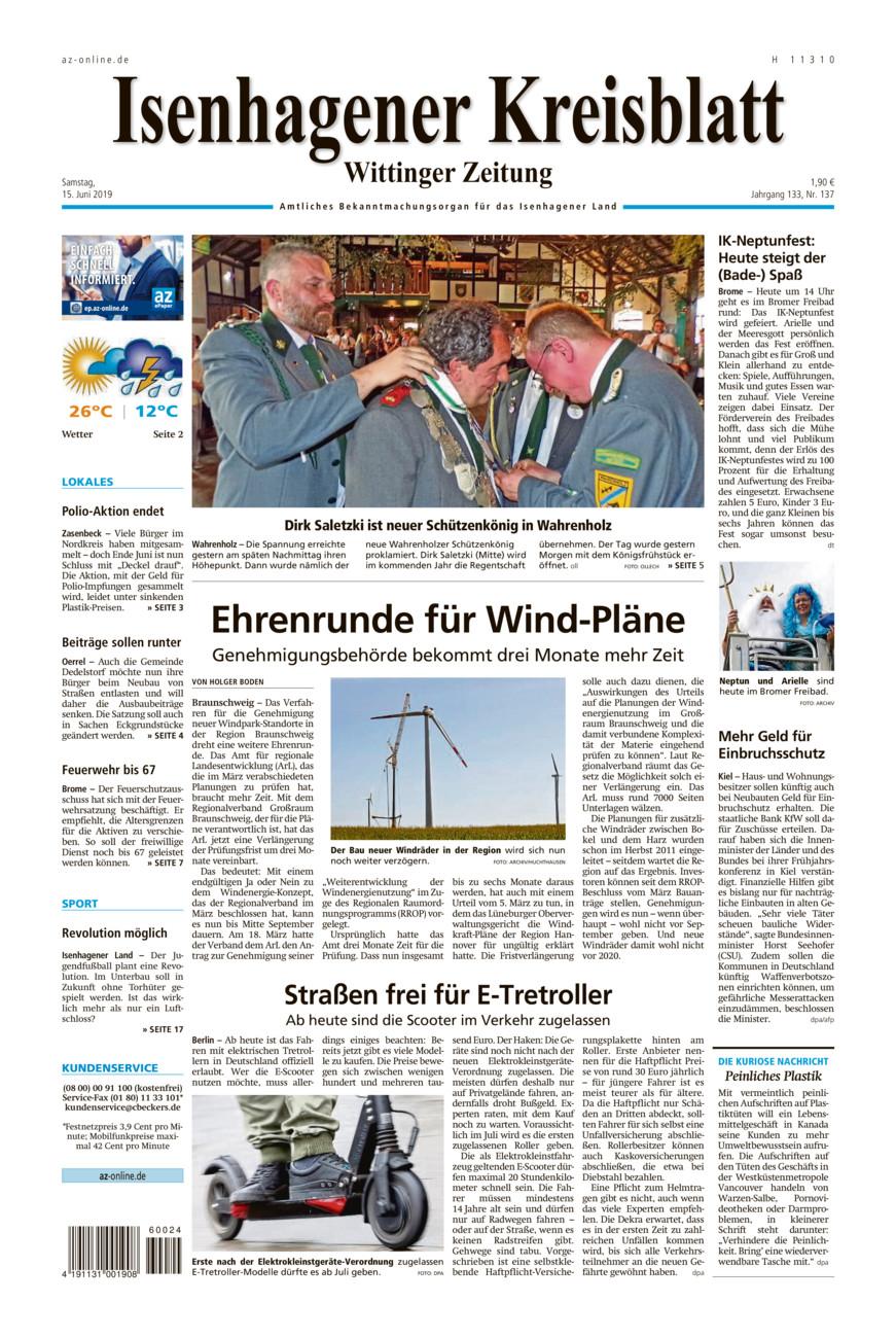 Isenhagener Kreisblatt vom Samstag, 15.06.2019