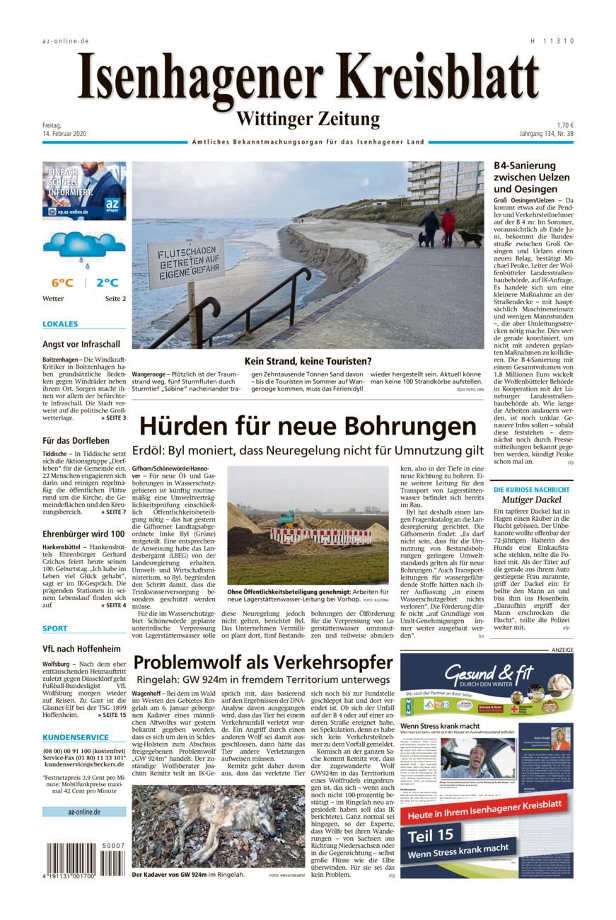 Isenhagener Kreisblatt vom Freitag, 14.02.2020