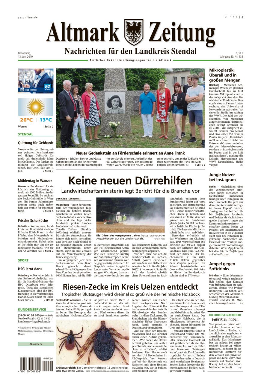 Landkreis Stendal vom Donnerstag, 13.06.2019