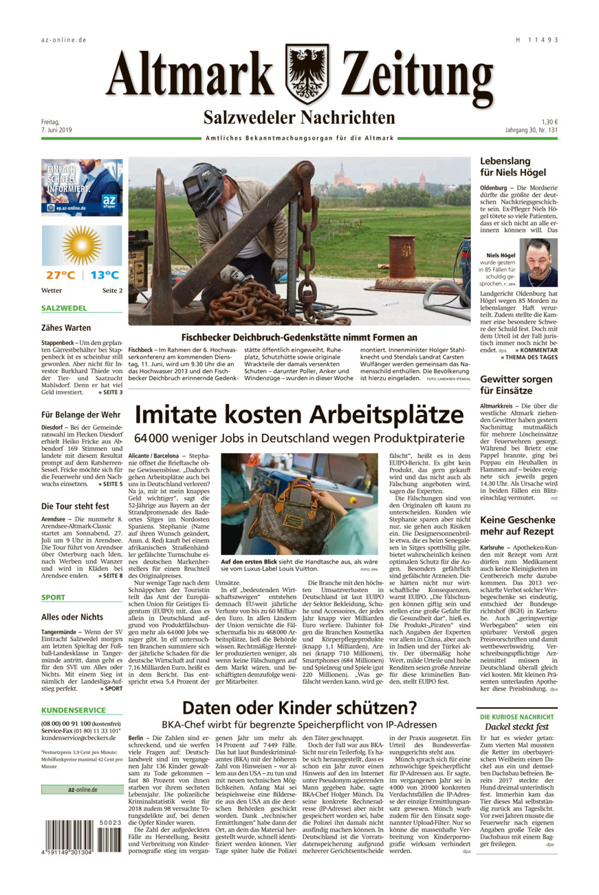 Salzwedeler Nachrichten vom Freitag, 07.06.2019