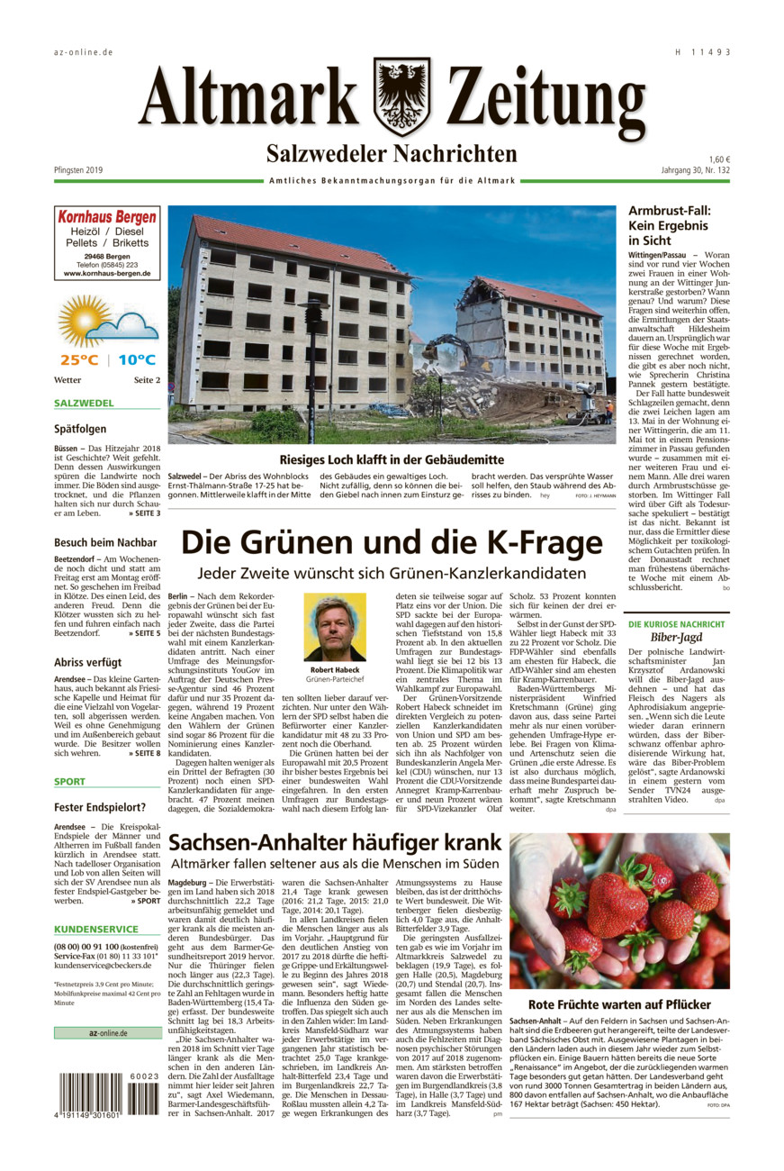 Salzwedeler Nachrichten vom Samstag, 08.06.2019