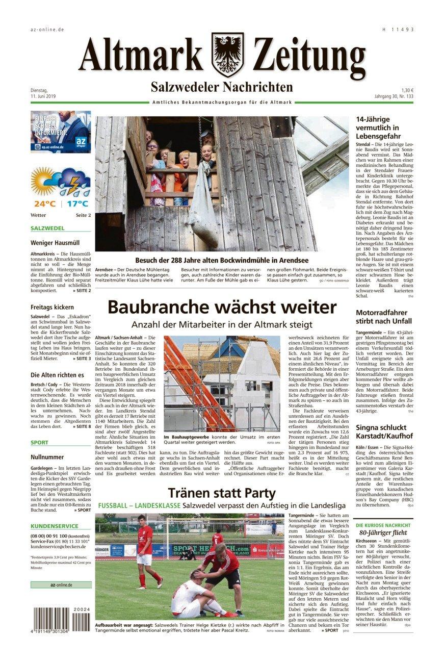 Salzwedeler Nachrichten vom Dienstag, 11.06.2019