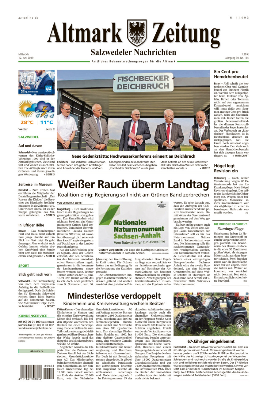 Salzwedeler Nachrichten vom Mittwoch, 12.06.2019