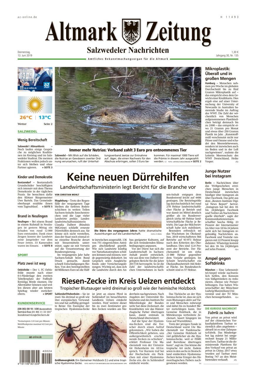 Salzwedeler Nachrichten vom Donnerstag, 13.06.2019