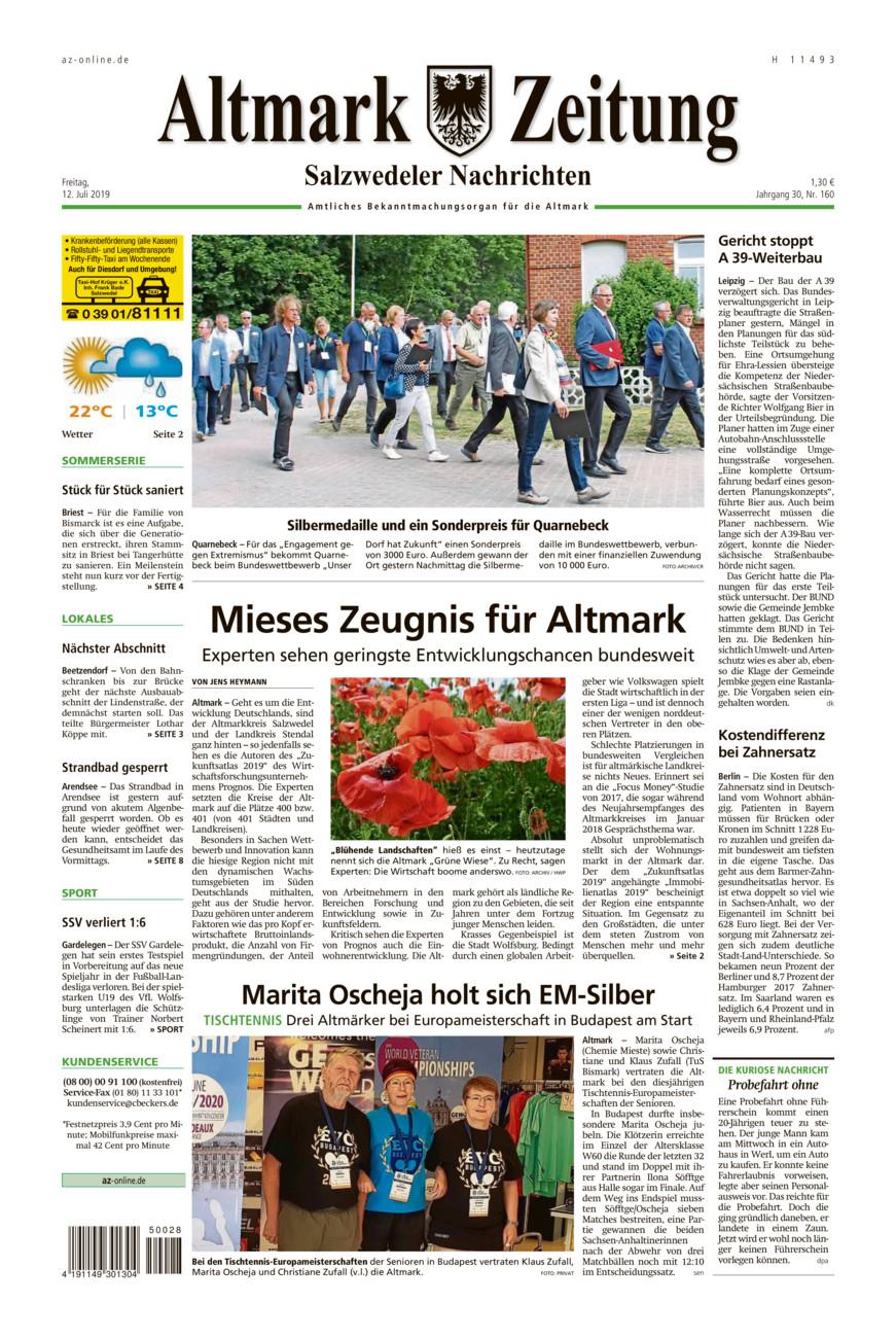 Salzwedeler Nachrichten vom Freitag, 12.07.2019