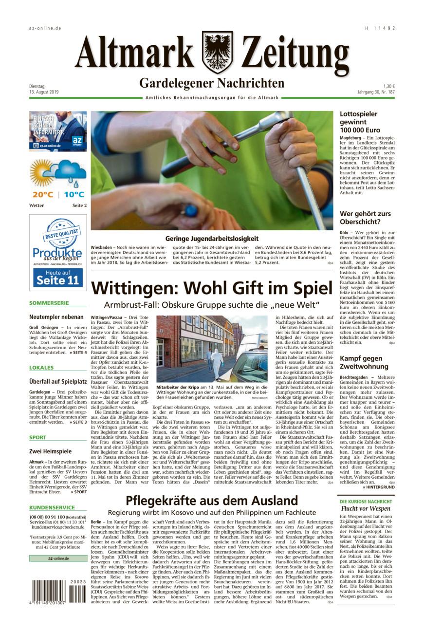 Gardelegener Nachrichten vom Dienstag, 13.08.2019