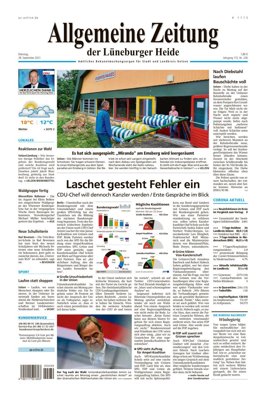 Allgemeine Zeitung vom Dienstag, 28.09.2021